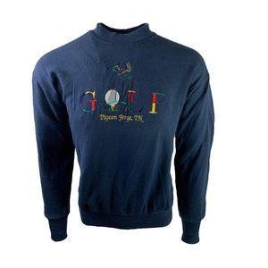 VTG Golf Embroidered Spellout Mock Neck Sweatshirt